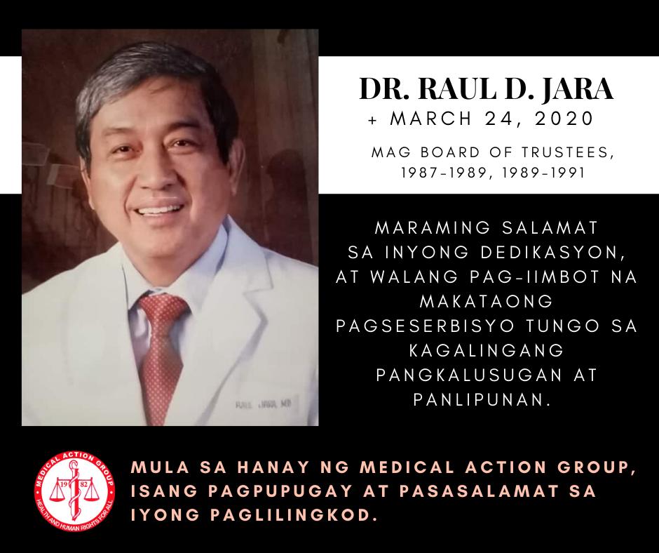 [OBITUARY] Pagpupugay at pagpapasalamat kay Dr. Raul Jara