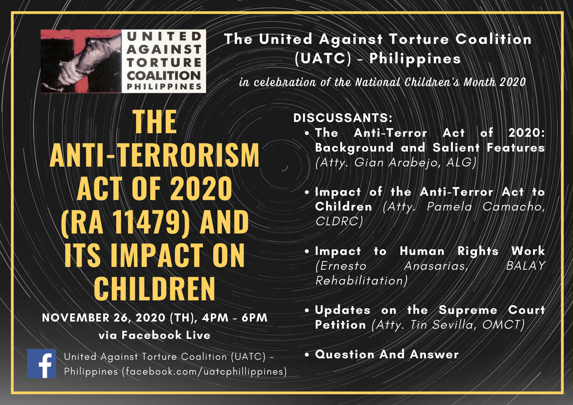 Webinar tackling the impacts of Anti-Terror Act 2020 on children