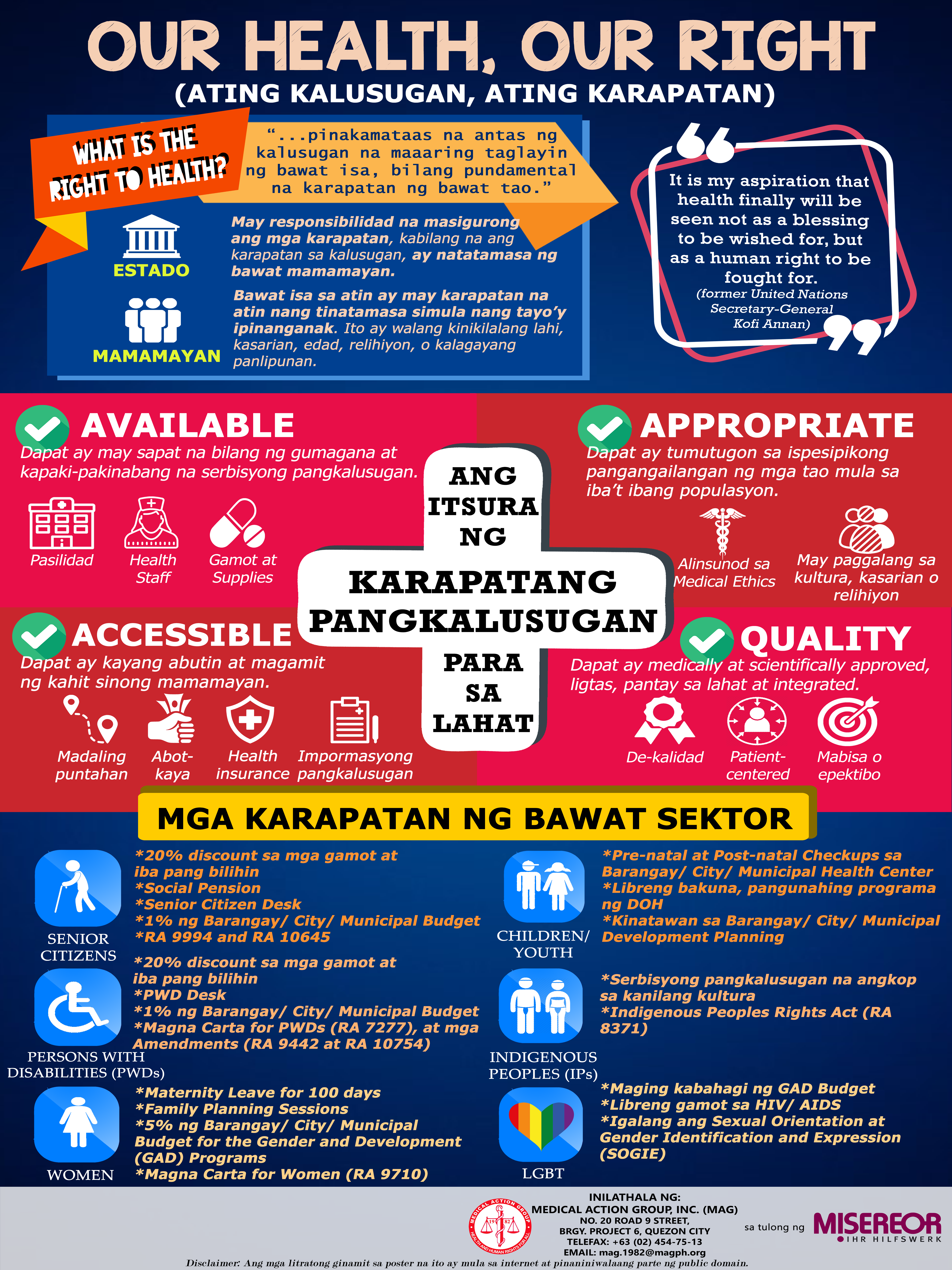 OUR HEALTH, OUR RIGHT (Poster on Right to Health)