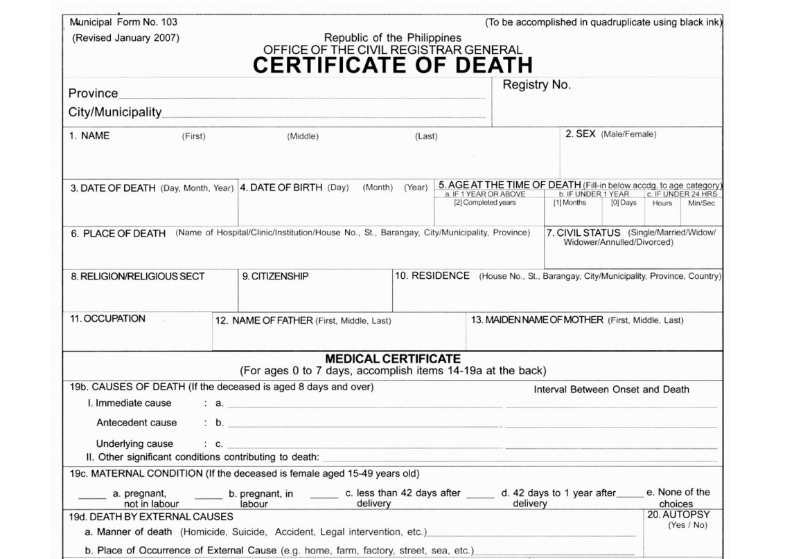 A Study on Quality of Certificate of Death in the Philippines