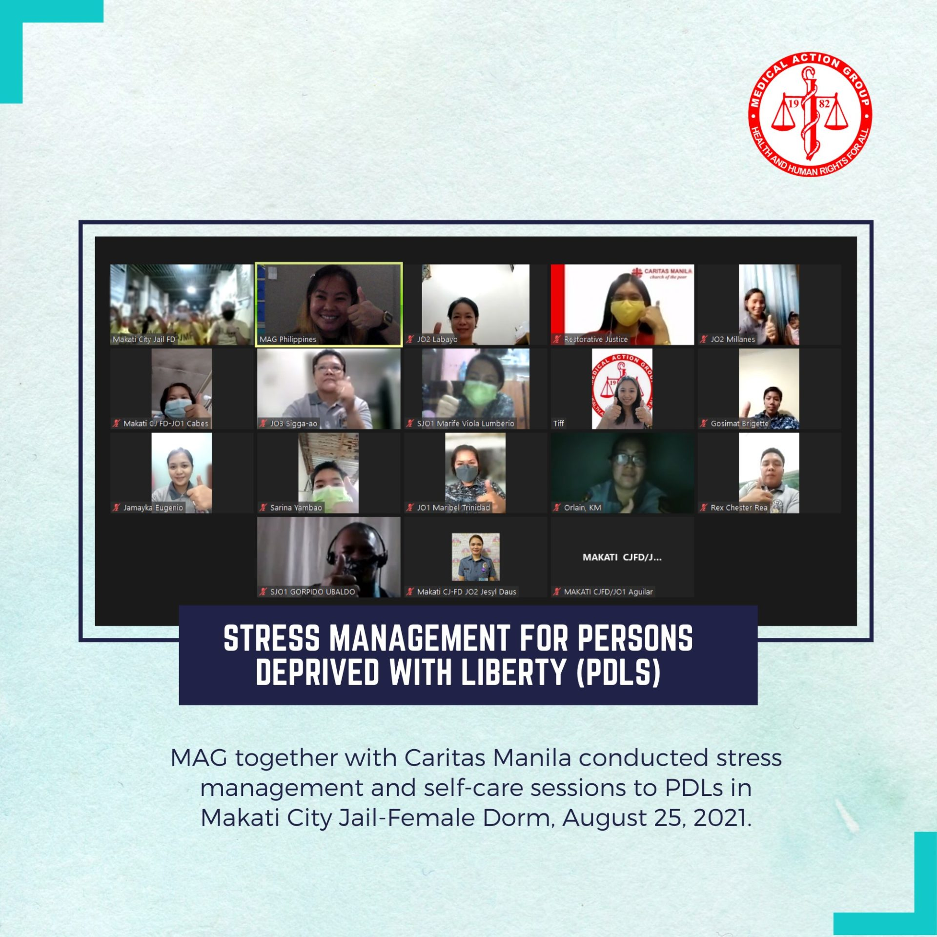 Stress Management for Persons Deprived of Liberty (PDLs) in some Metro Manila Jails